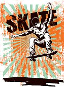 skate grunge poster with rider jumping