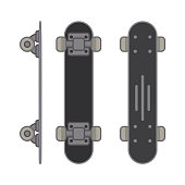 Skateboard active lifestyle.Extreme street sport youth.Flat line art style vector.Icon top view and sideways.