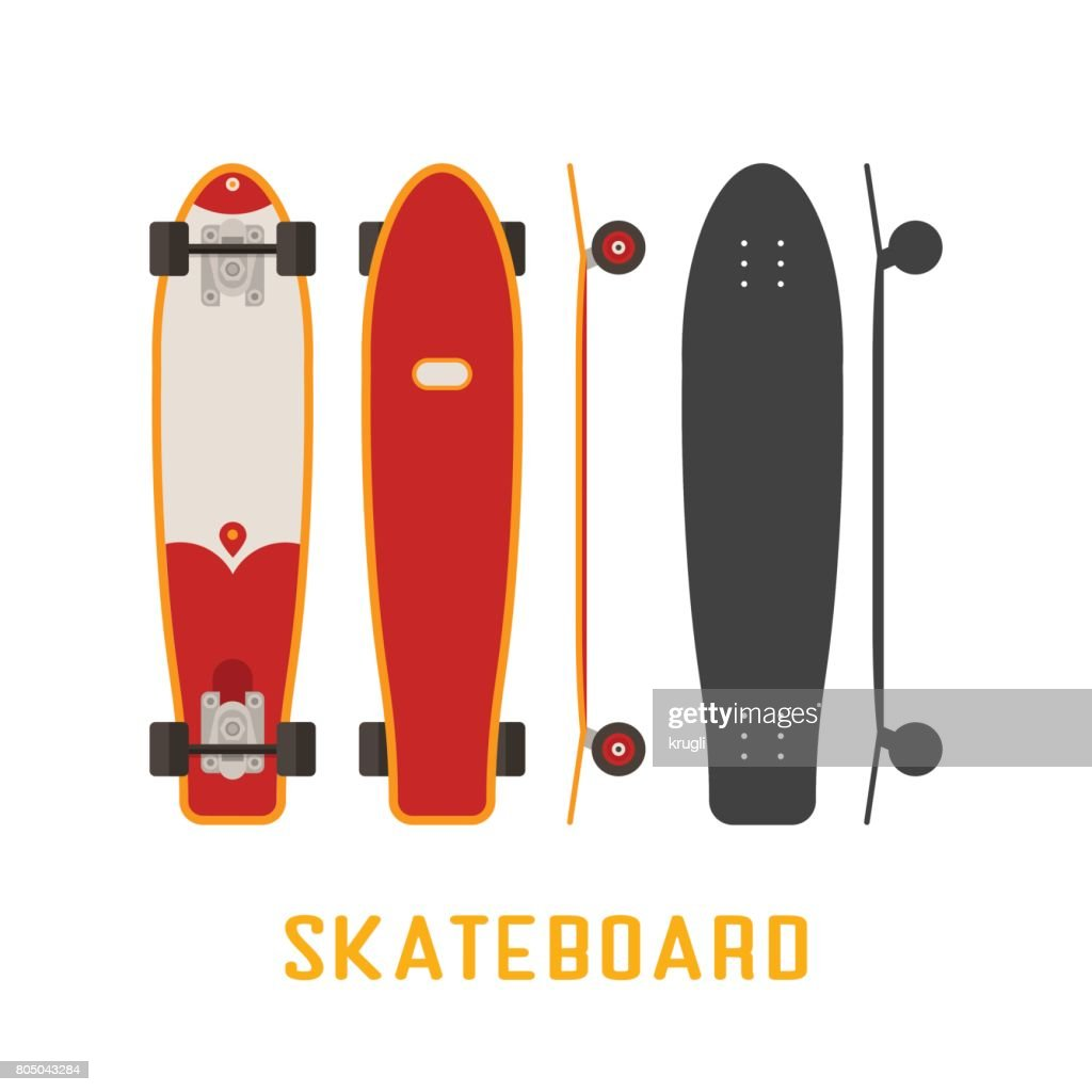 Skateboard Bottom, Side and Top View