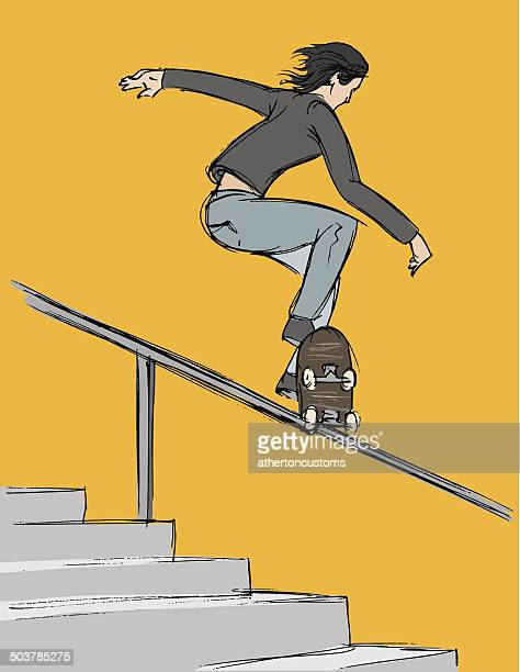 skateboard rail trick - ballpoint pen stock illustrations, clip art, cartoons, & icons