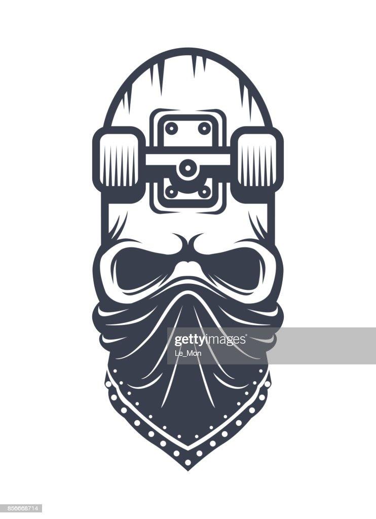 Skateboard skull in bandana design