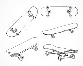 Skateboard vector illustrations. Skating equipment. Outline skateboard extreme sport