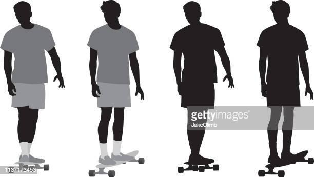 スケートボーダーシルエット - tシャツ点のイラスト素材/クリップアート素材/マンガ素材/アイコン素材