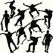Skateboarders Silhouette Set
