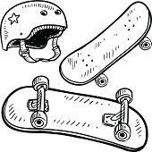 Skateboarding equipment sketch
