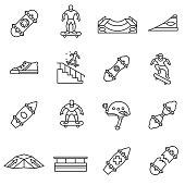 Skateboarding linear icons set.Editable stroke.