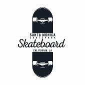 Skateboarding t shirt graphic. Urban skating. Santa Monica, California skatepark. Vintage tee graphic