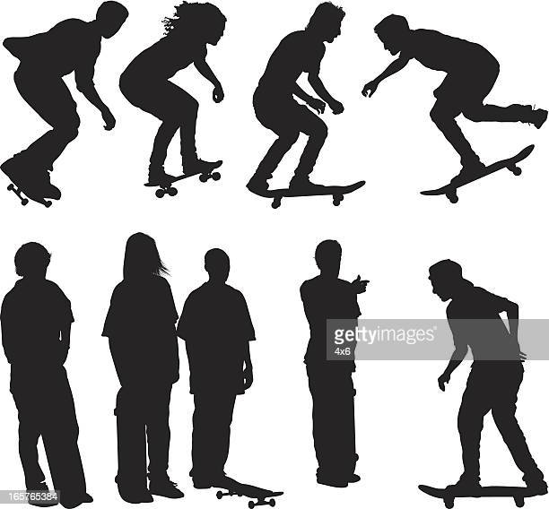 Skateboarding teenager silhouettes