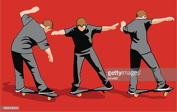 stockillustraties, clipart, cartoons en iconen met skateboarding - match sport