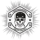 Skateboarding vintage label with skull in helmet. vector