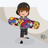 skater, boy, skateboard