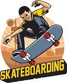 skater do the skateboard jumping trick