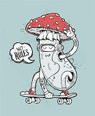 Skater Mushroom Illustration
