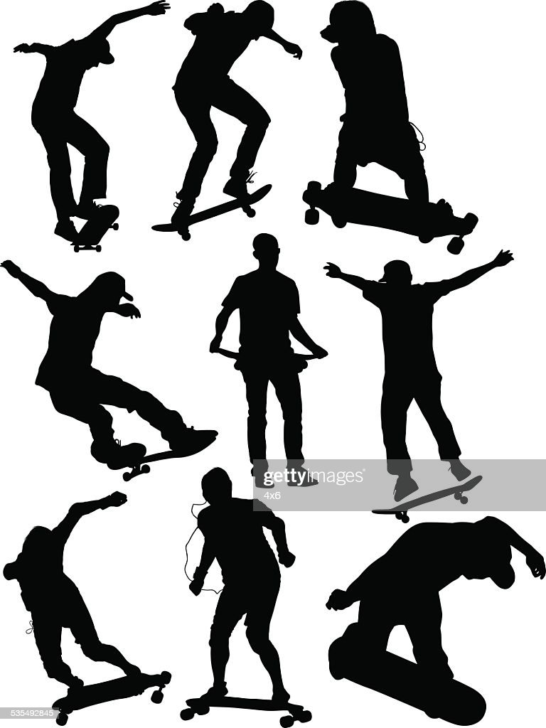 Skaters in various actions