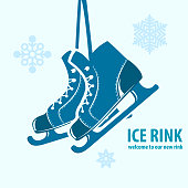 Skates with text Ice rink - winter emblem with snowflakes.  Vector emblem.