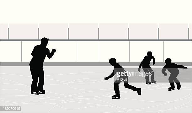 skating coach vector silhouette - ice skate stock illustrations, clip art, cartoons, & icons