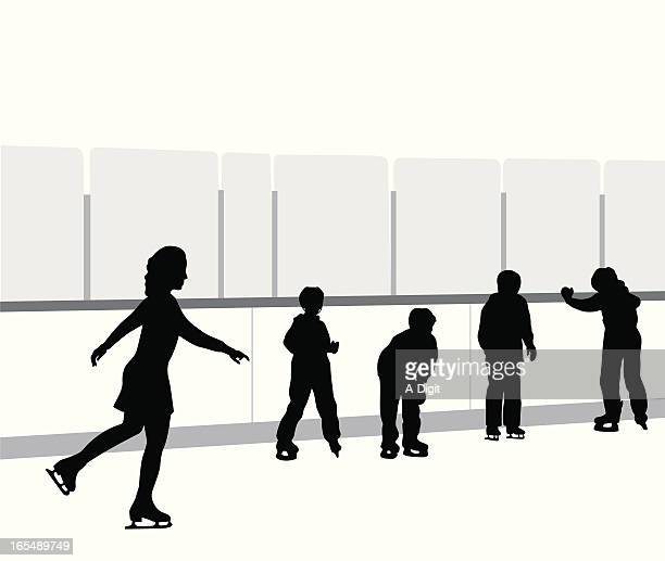 skating lessons vector silhouette - ice skate stock illustrations, clip art, cartoons, & icons