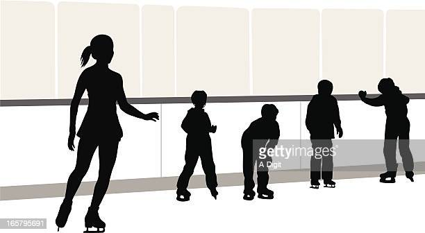 skating lessons vector silhouette - ice skating stock illustrations