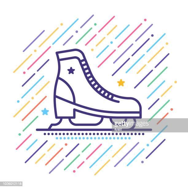 stockillustraties, clipart, cartoons en iconen met schaatsen lijn pictogram - schaats ijs