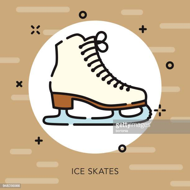 skating open outline canadian icon - ice skate stock illustrations, clip art, cartoons, & icons