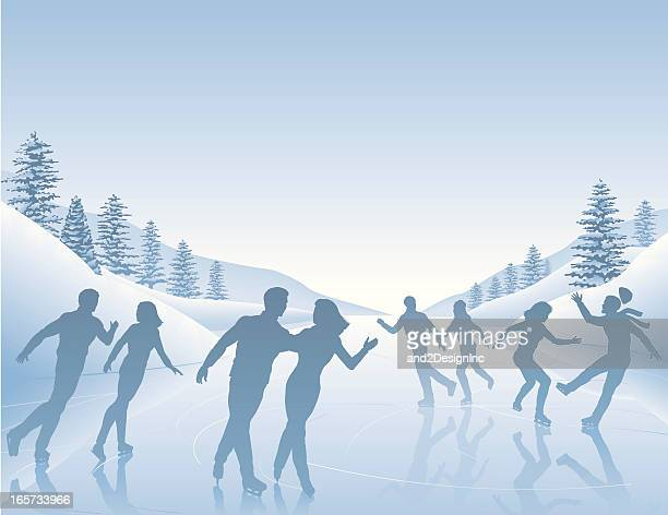 skating scene - ice skating stock illustrations