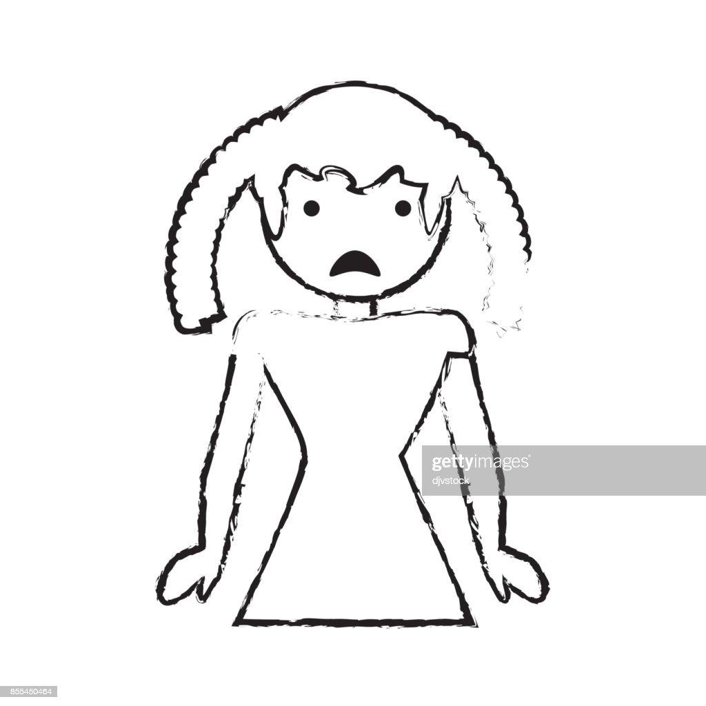 skecth girl daughter sad face
