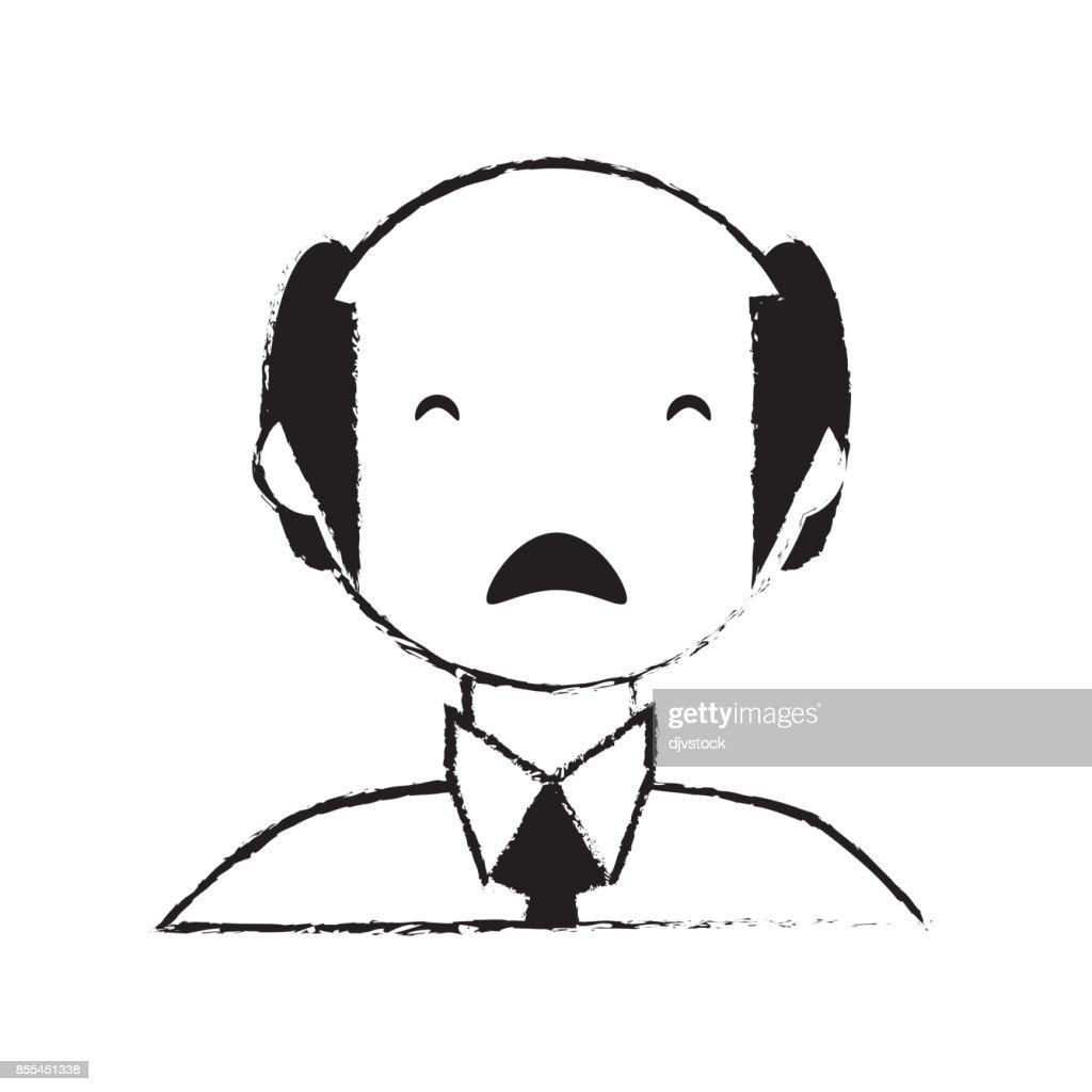 skecth man bald sad face