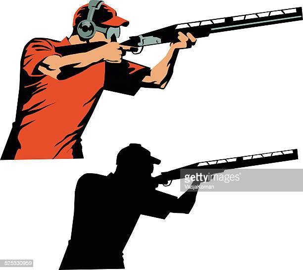 skeet shooter colored drawing and silhouette - trap shooting stock illustrations