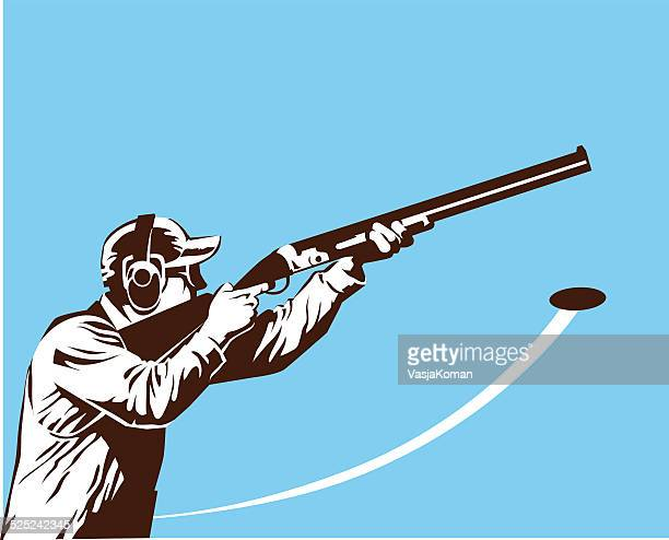 skeet shooter in black and white - trap shooting stock illustrations