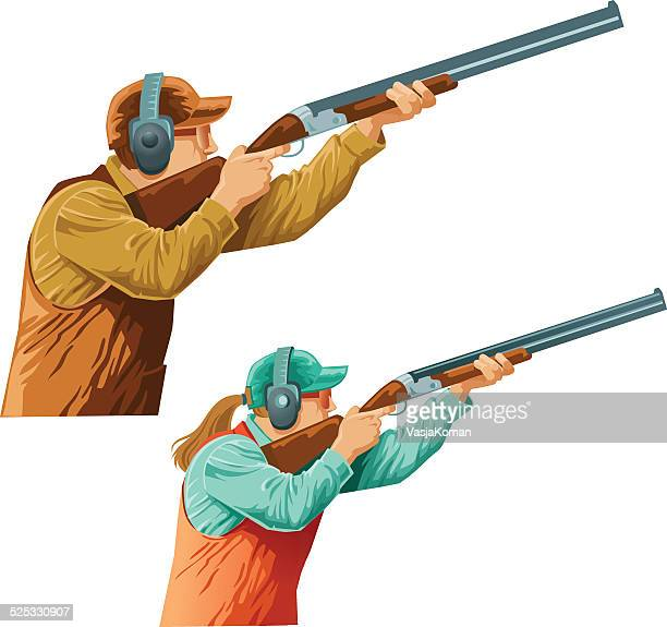 skeet  shooters competitors male and female - clay pigeon shooting stock illustrations