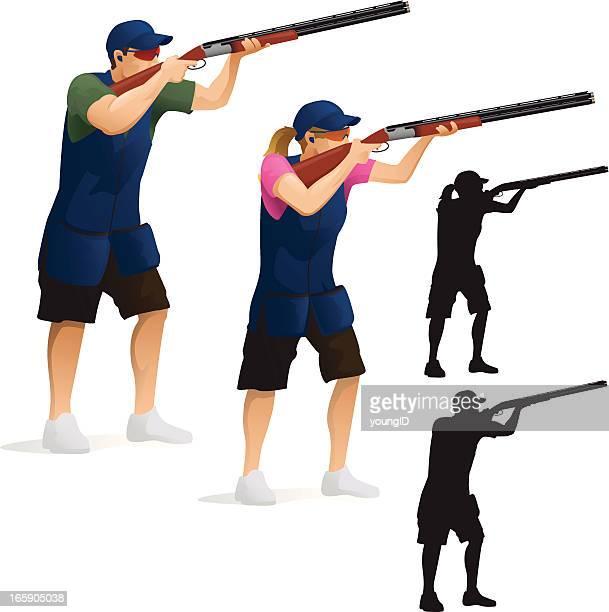 skeet shooting - shotgun stock illustrations