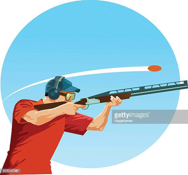 skeet shooting - trap shooting stock illustrations