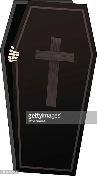 skeleton coffin - coffin stock illustrations