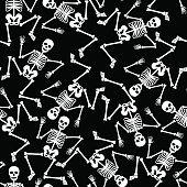 Skeleton dancing seamless pattern