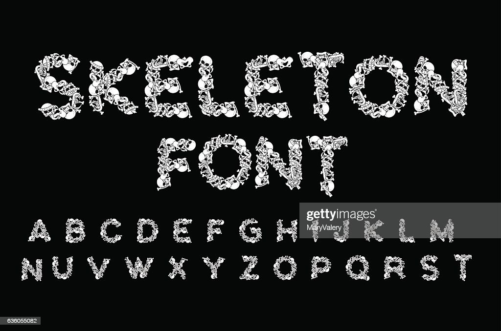 Skeleton font. Letters anatomy. Bones ABC. Skull and spine. Jaw