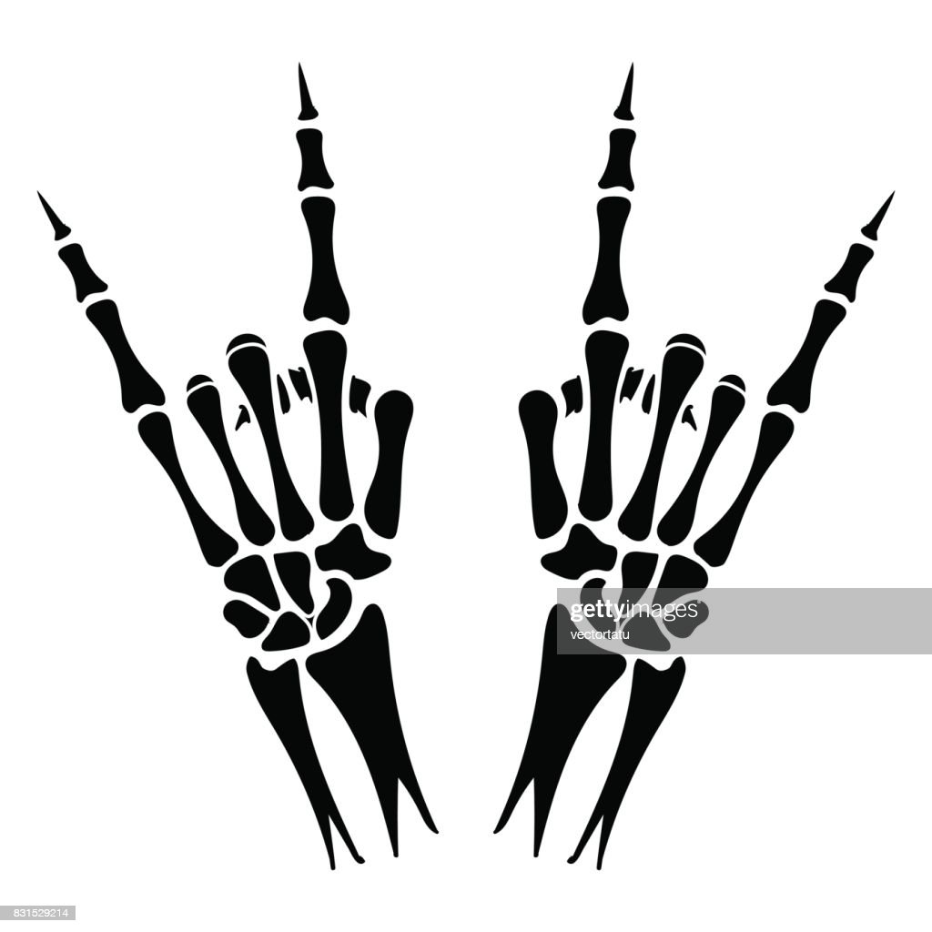 Skeleton hands heavy metal sign