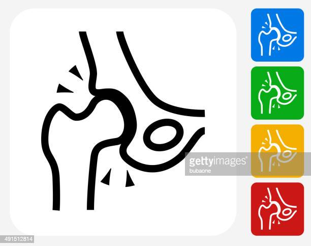 skeleton hip icon flat graphic design - hip body part stock illustrations, clip art, cartoons, & icons