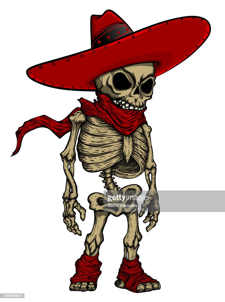 Skeleton in Mexican hat mascot.