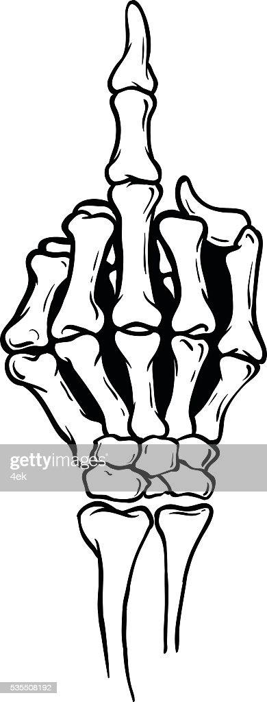 Skeleton Middle Finger Vector Illustration