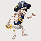 Skeleton pirate with belt and sharp sword