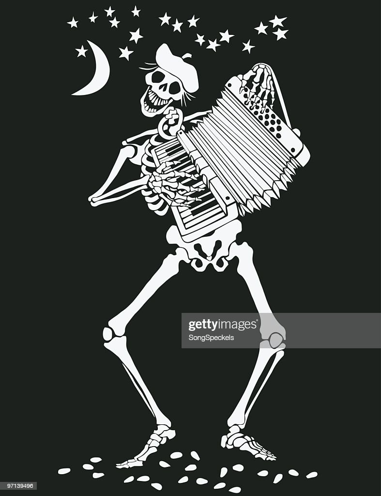 Skeleton playing Accordion on Day of the Dead