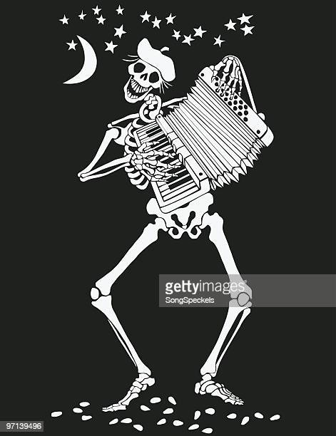 skeleton playing accordion on day of the dead - skeleton stock illustrations, clip art, cartoons, & icons