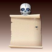 Skeleton Scroll Sign - Illustration