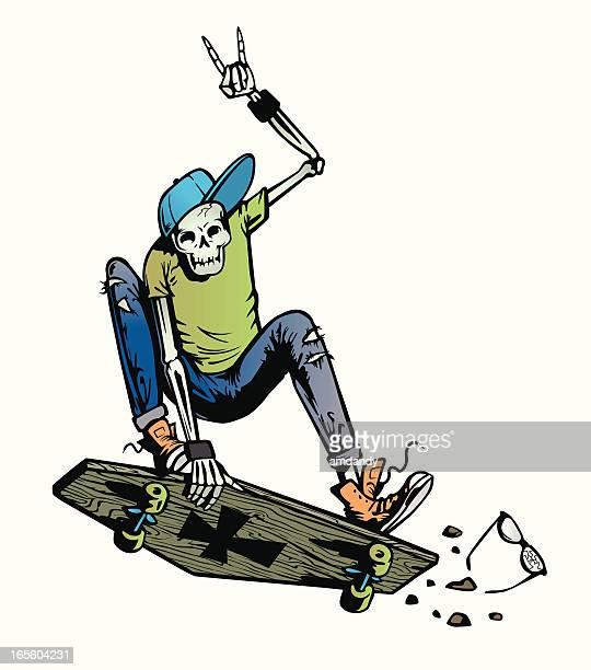 skeleton skater on a coffin skateboard - punk person stock illustrations, clip art, cartoons, & icons