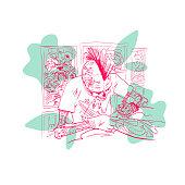 Skeleton tattoo artist. Fashion illustration. T-shirt design. Placard, banner, advertising, poster template card. Hand drawn vector art.
