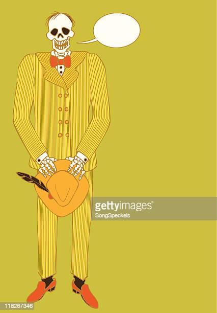 Skeleton wearing pinstripe suit and holding Fedora