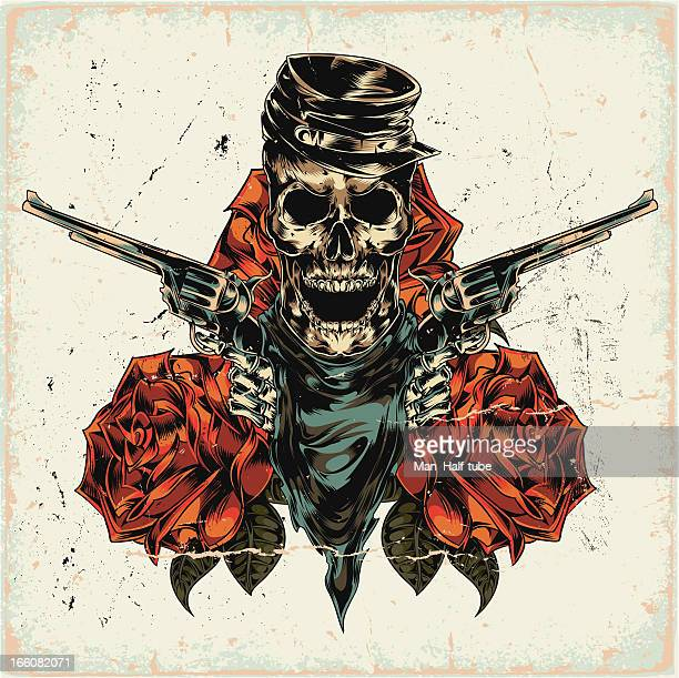 bildbanksillustrationer, clip art samt tecknat material och ikoner med skeleton with two revolvers on abstract background - tatuering