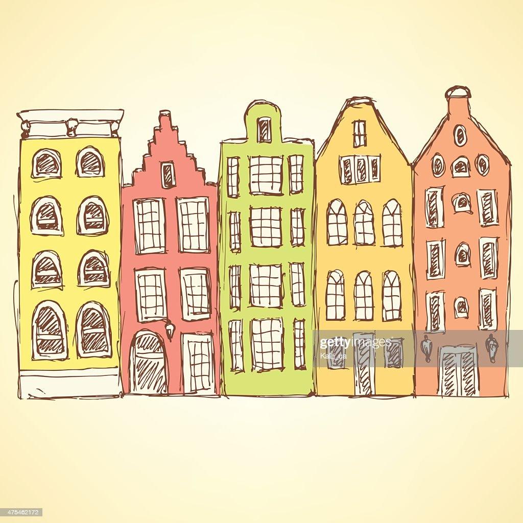 Sketch Amsterdam hauses in vintage style