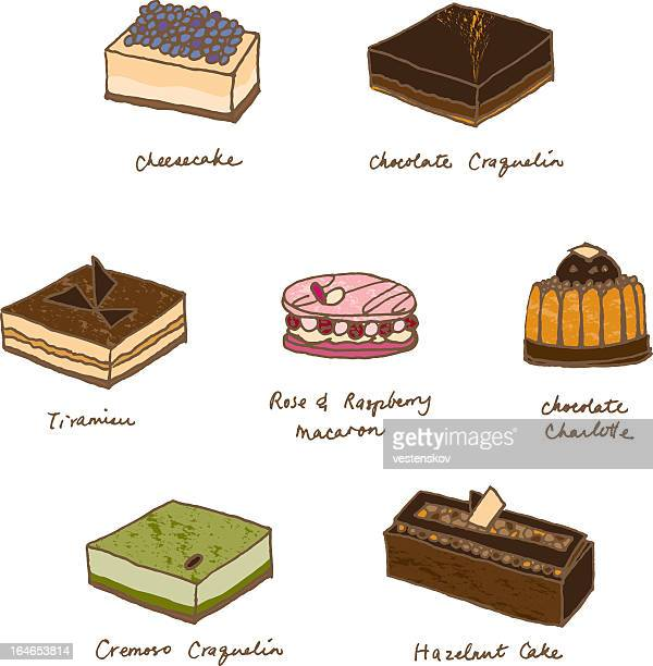 sketch assorted delicious cakes - macaroon stock illustrations, clip art, cartoons, & icons