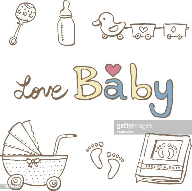 sketch baby cart milk bottle toy & album